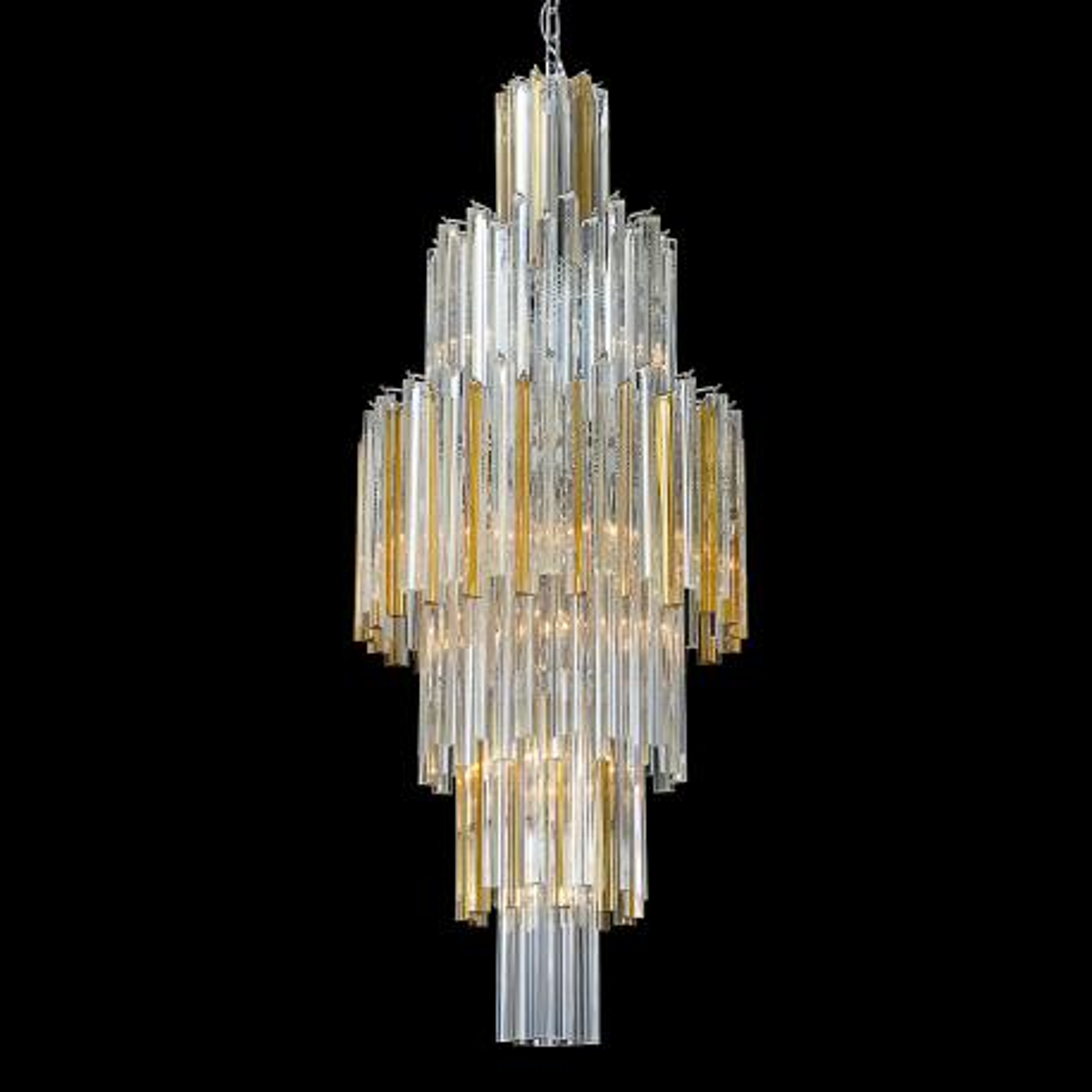 """""""Labelle"""" lustre en cristal de Murano - 16 lumières - transparent et ambre"""