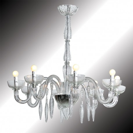 """Geremia"" 8 lights transparent Murano glass chandelier"