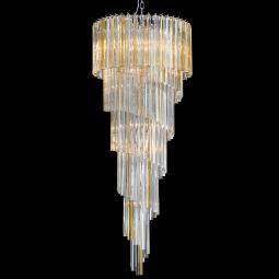 """Gwen"" Murano glass chandelier - 12 lights - transparent and amber"