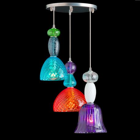 """Karen"" suspension en verre de Murano - 3 lumières - multicolor"