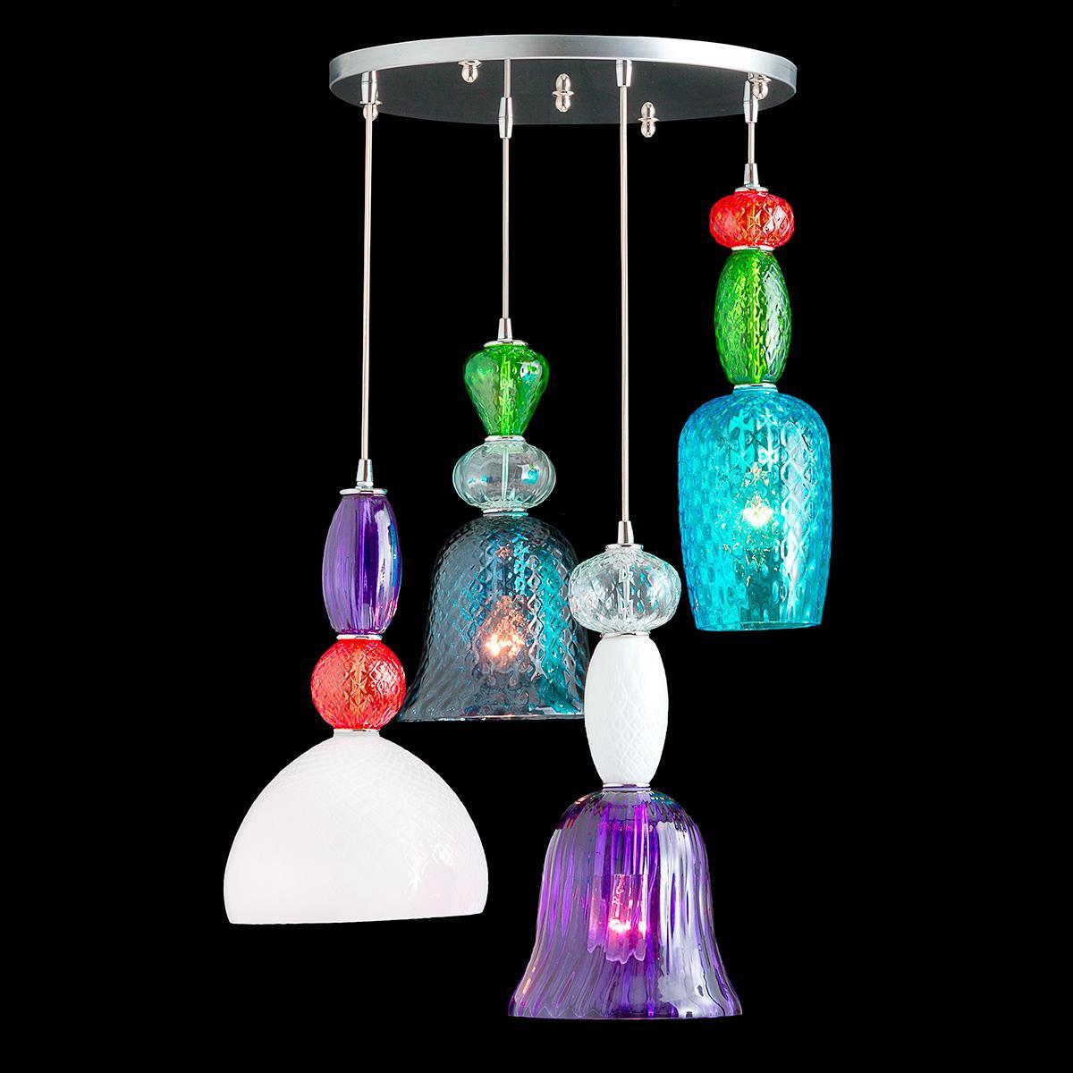 """""""Marlena"""" lámpara colgante en cristal de Murano - 5 luces - multicolore"""