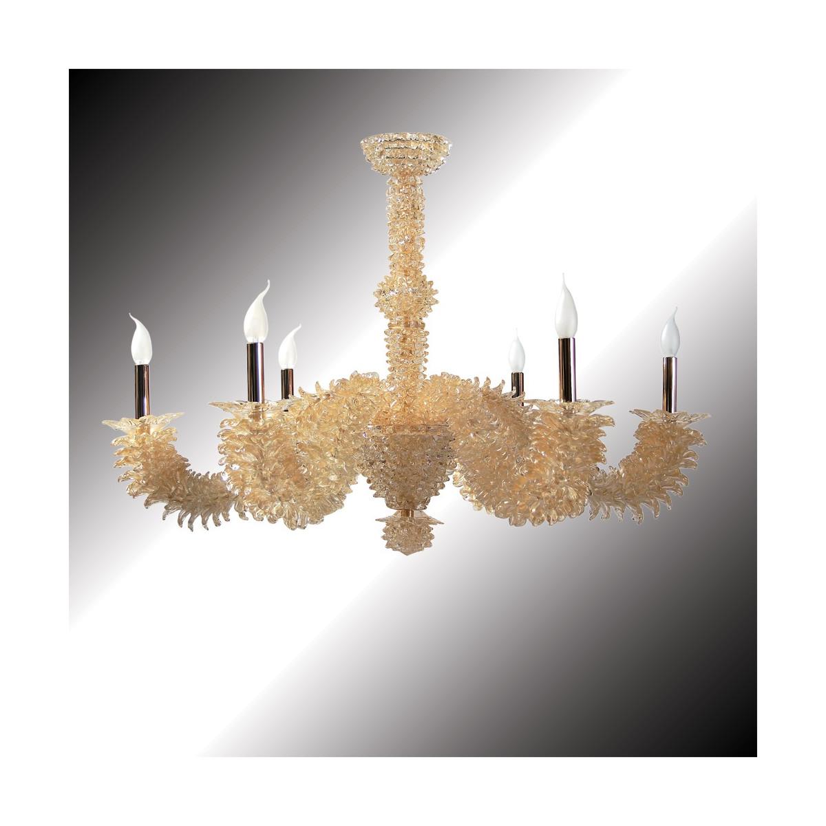 """""""Narciso"""" lustre or 24 carats en verre de Murano 6 lumières"""