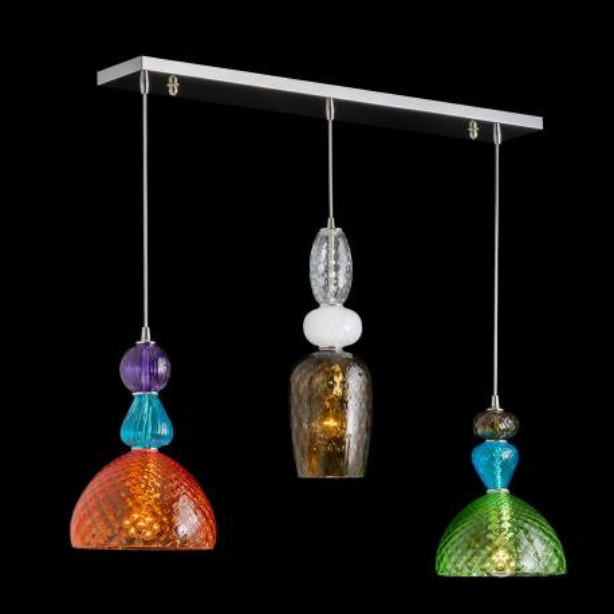 Mavis Murano Gl Pendant Light 3 Lights Multicolor