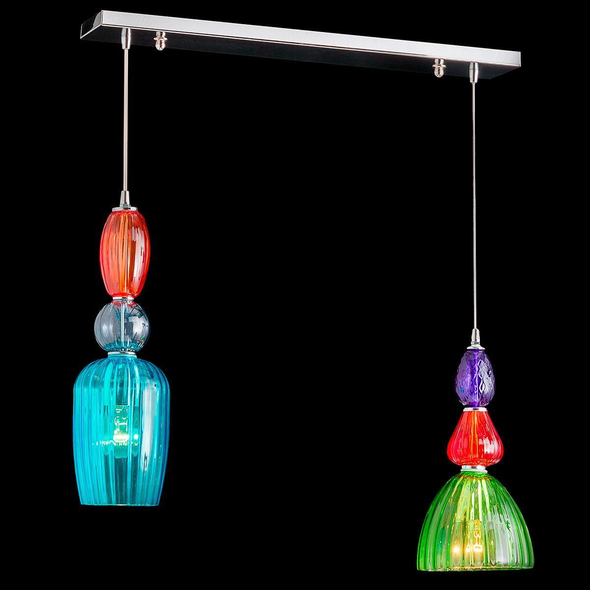 """Millie"" lámpara colgante en cristal de Murano - 2 luce - multicolore"