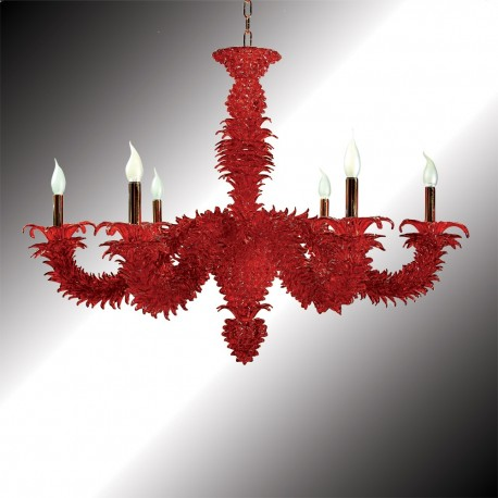 """Narciso"" 6 lights red Murano glass chandelier"