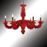 """Narciso"" red Murano glass chandelier"