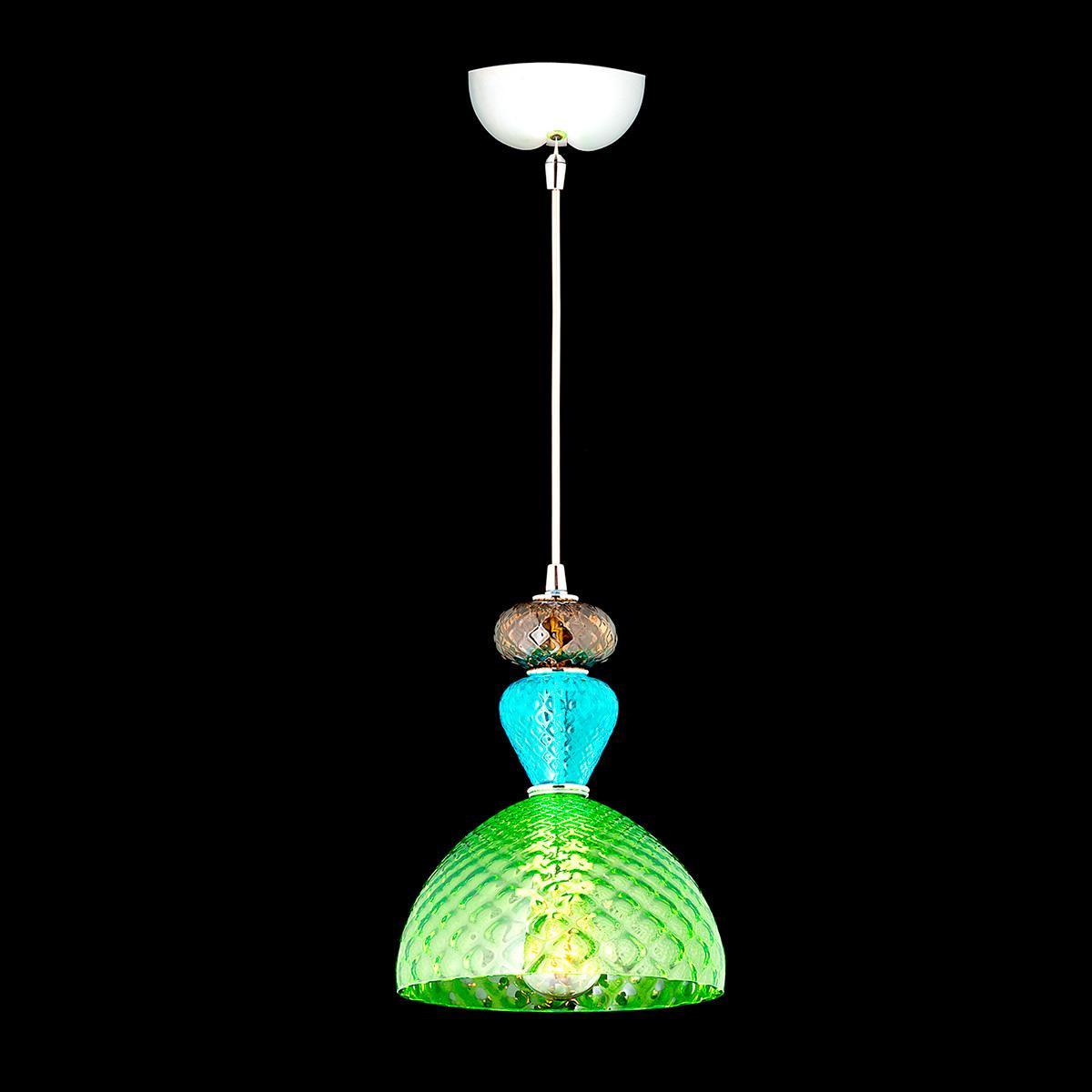 """Leroy"" Murano glass pendant light - 1 light - multicolor"