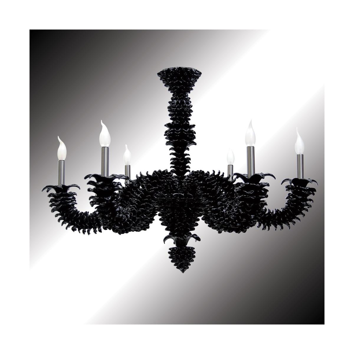 """""""Narciso"""" araña de Murano negra 6 luces"""