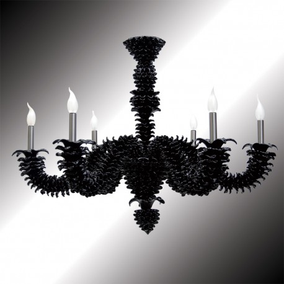 """Narciso"" 6 lights black Murano glass chandelier"