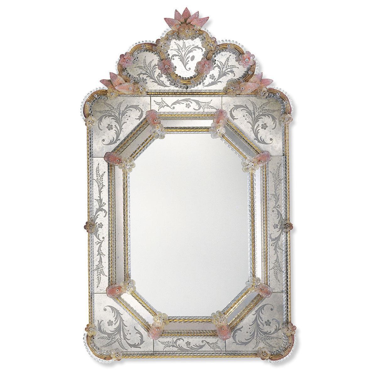 """""""Dafne"""" espejo veneciano de cristal de Murano"""