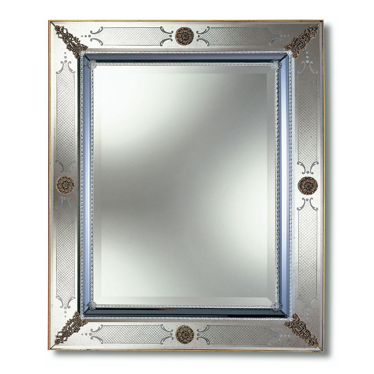 """""""Azzurra"""" espejo veneciano de cristal de Murano"""