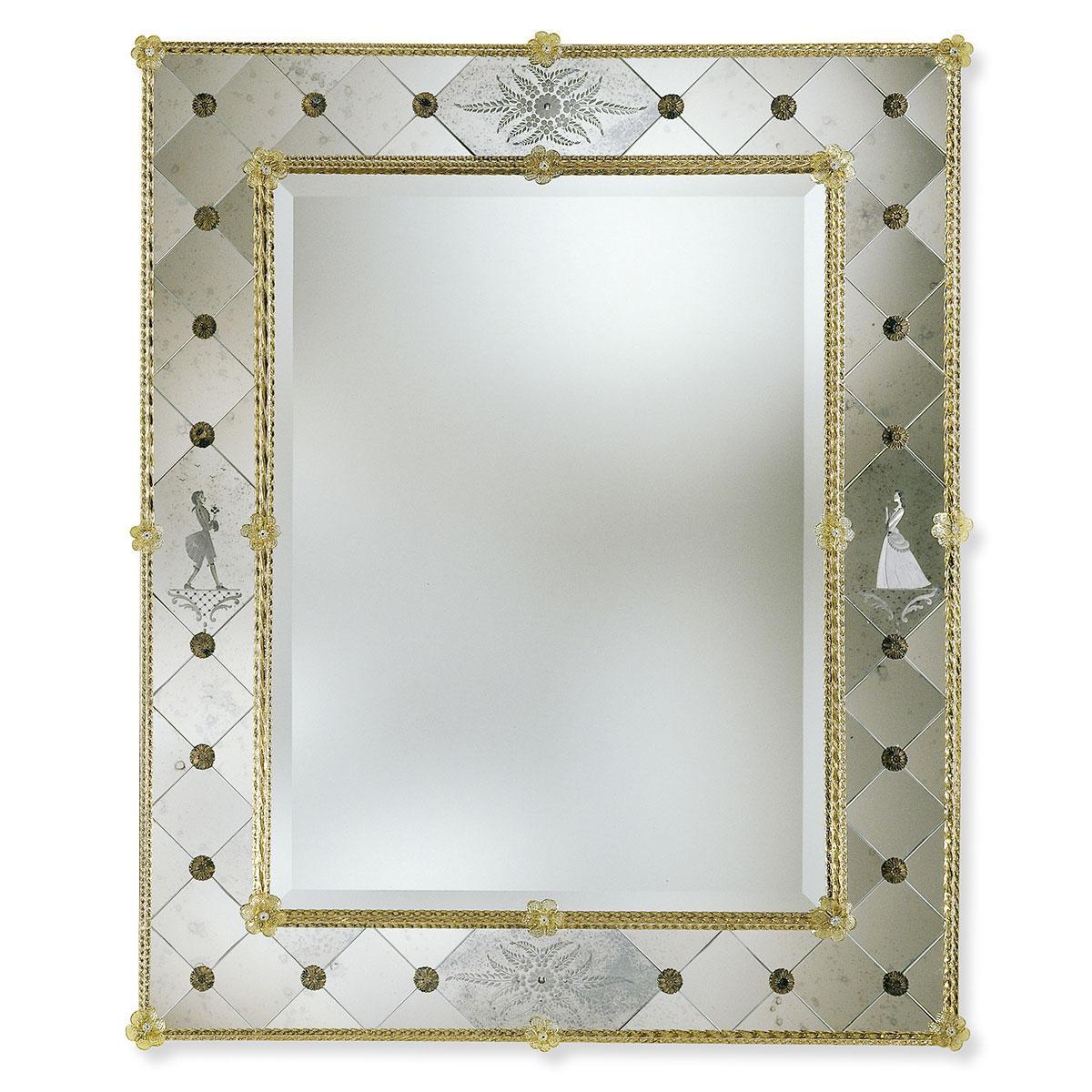 """""""Isotta"""" espejo veneciano de cristal de Murano"""