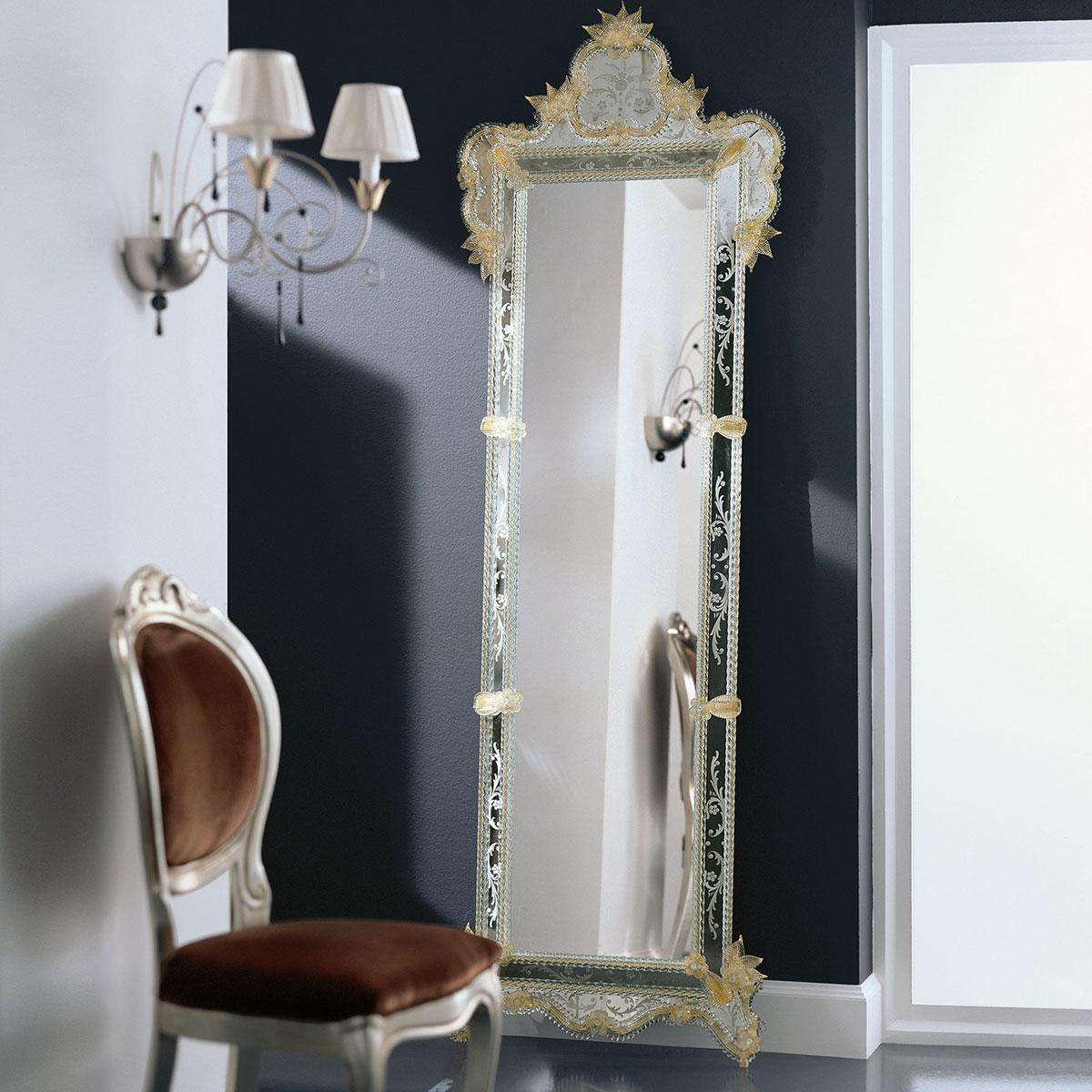 """""""Venere"""" espejo veneciano de cristal de Murano"""
