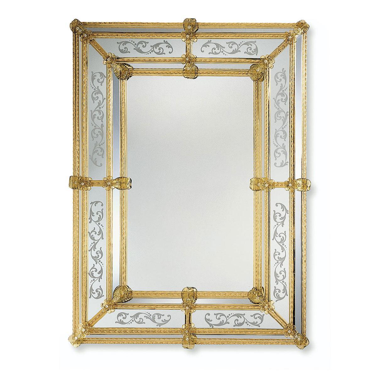 """""""Viola"""" espejo veneciano de cristal de Murano"""