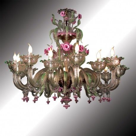 """Gritti"" 16 lights Murano glass chandelier"