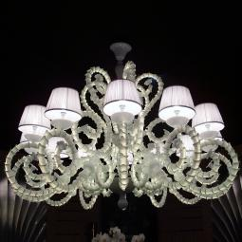 """Adelina"" lustre en cristal de Murano avec abat-jour"