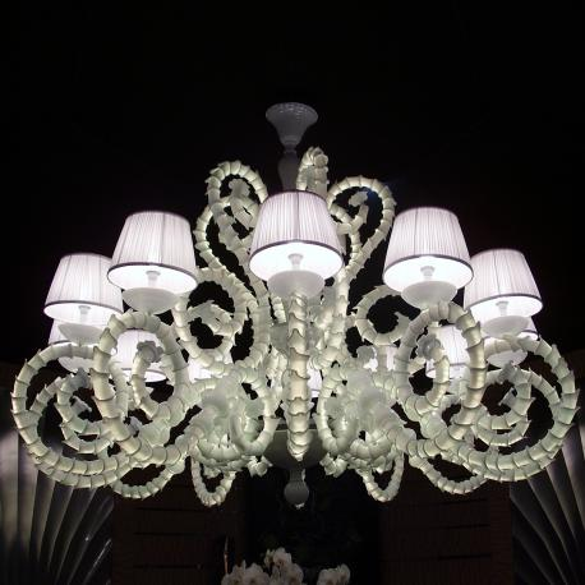 """Adelina"" lustre en cristal de Murano - 12 lumières - blanc"