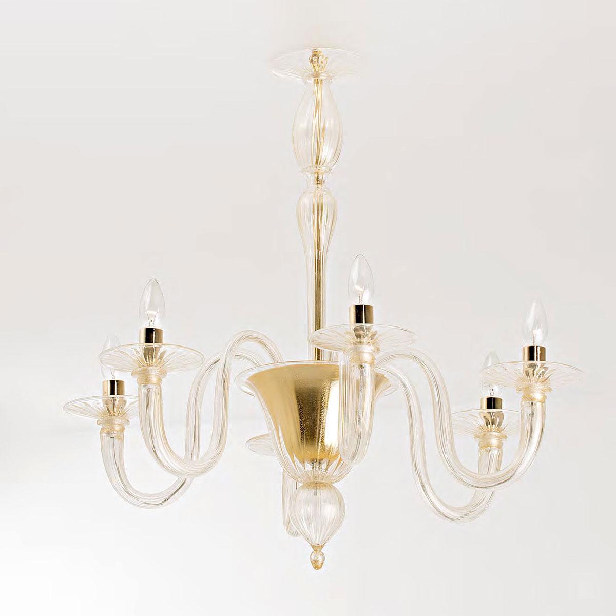 """Brigitta"" lustre en cristal de Murano - 6 lumières - or"