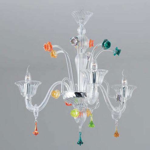 """""""Amanda"""" lustre en cristal de Murano - 3 lumières - transparent avec des détails colorés"""