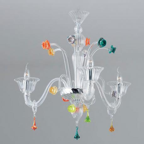 """Amanda"" Murano glass chandelier - 3 lights - transparent with colored details"