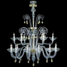 """Moira"" Murano glass chandelier - 12+6 lights - transparent and gold"