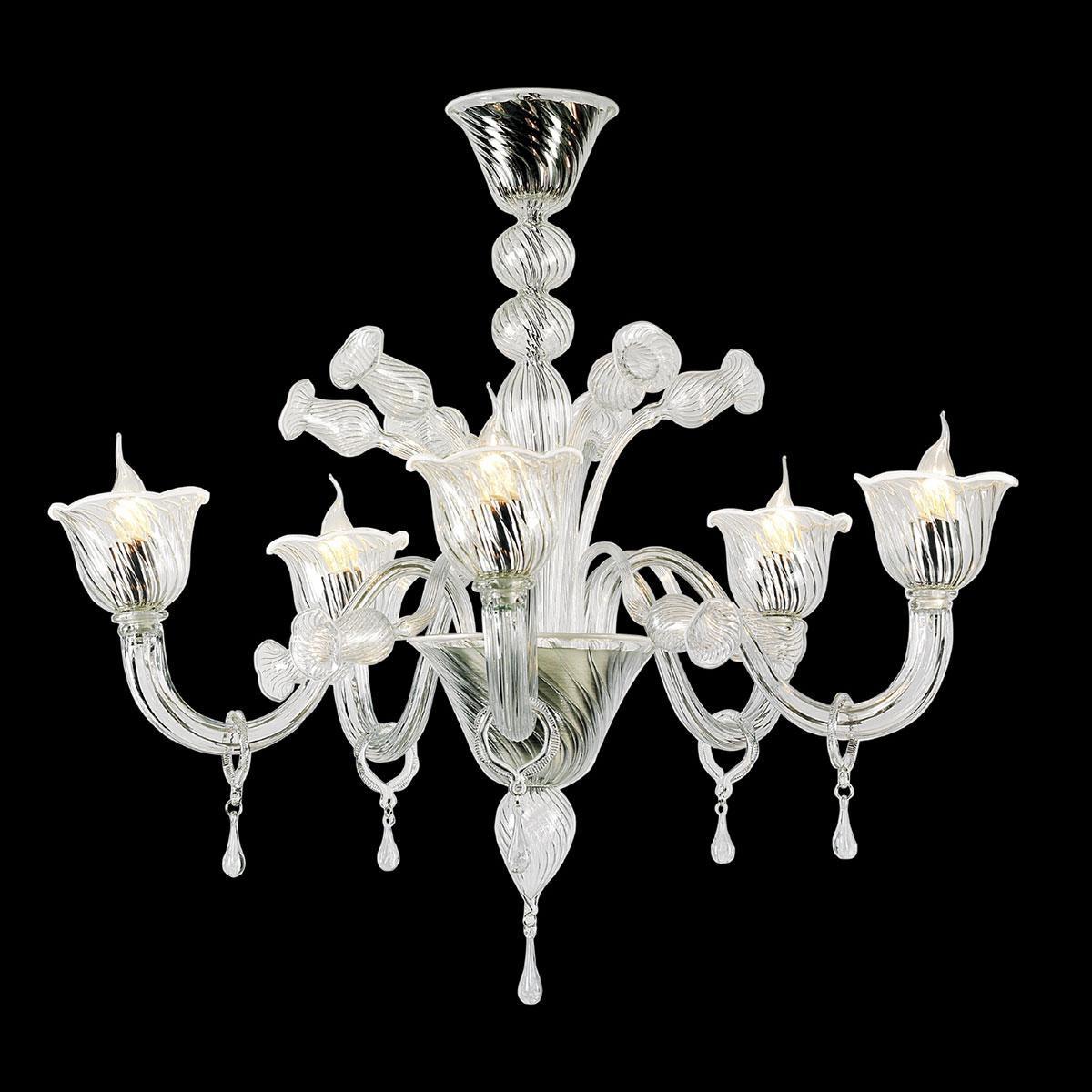 """""""Fabiana"""" lampara de araña de Murano - 5 luces - transparent y blanco"""