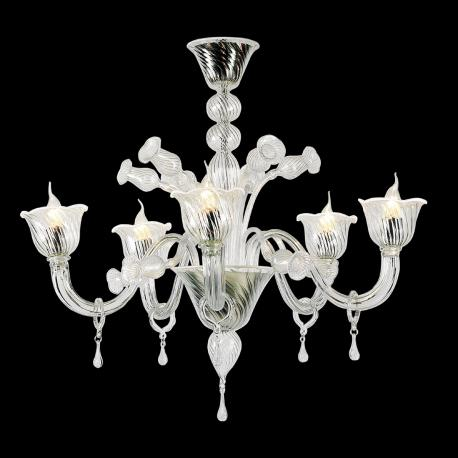 """Fabiana"" Murano glass chandelier - 5 lights - transparent and white"