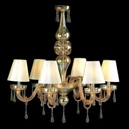 """Fabiola"" Murano glass chandelier with lampshades - 8 lights - amber"