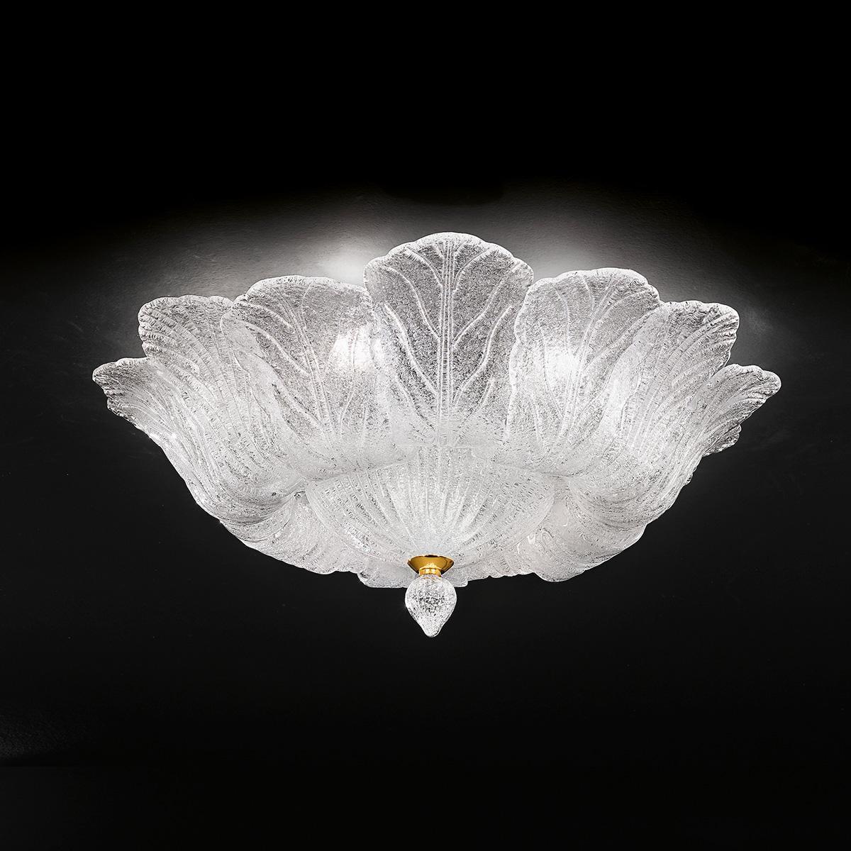 """Loretta"" plafonnier en verre de Murano - 8 lumières - transparent"