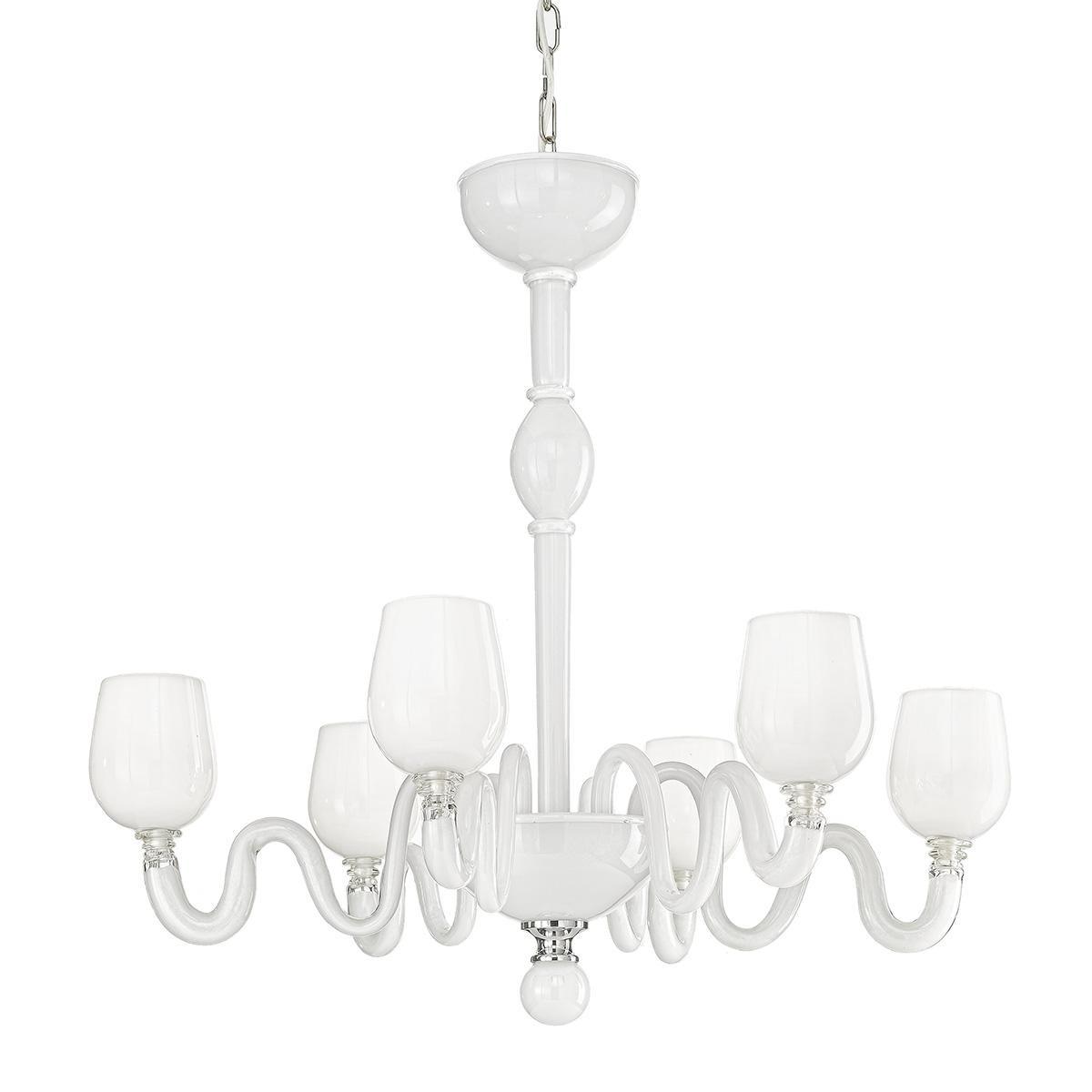 """""""Guendalina"""" lustre en cristal de Murano - 6 lumières - blanc"""
