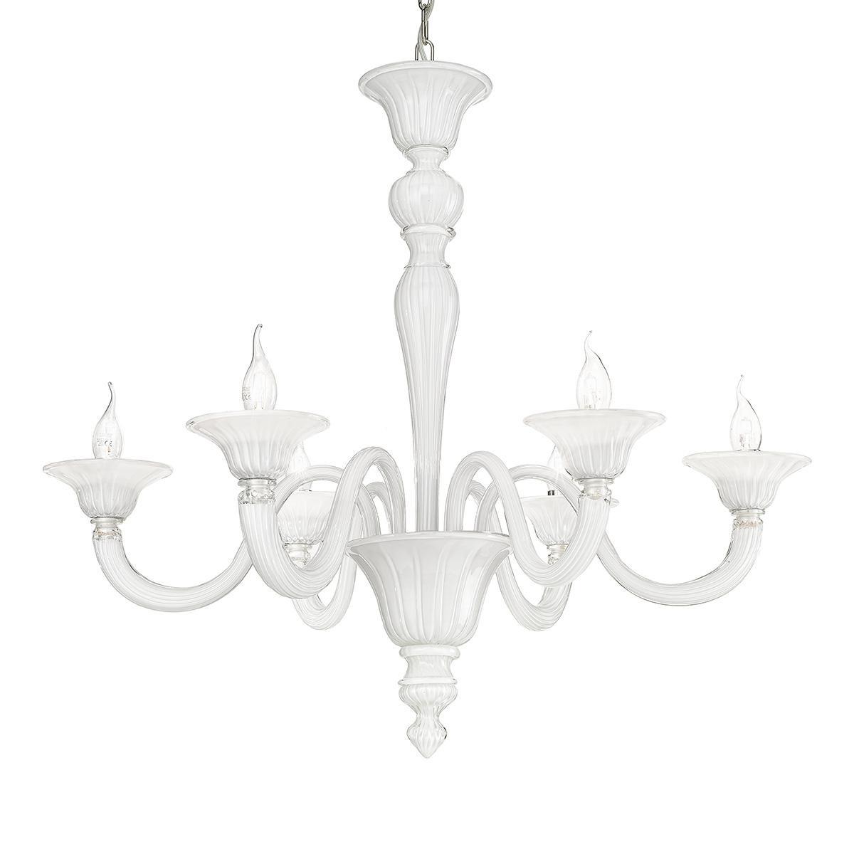 """""""Paola"""" lustre en cristal de Murano - 6 lumière - blanc"""