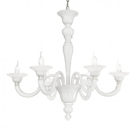 """Paola"" Murano glass chandelier - 6 lights - white"
