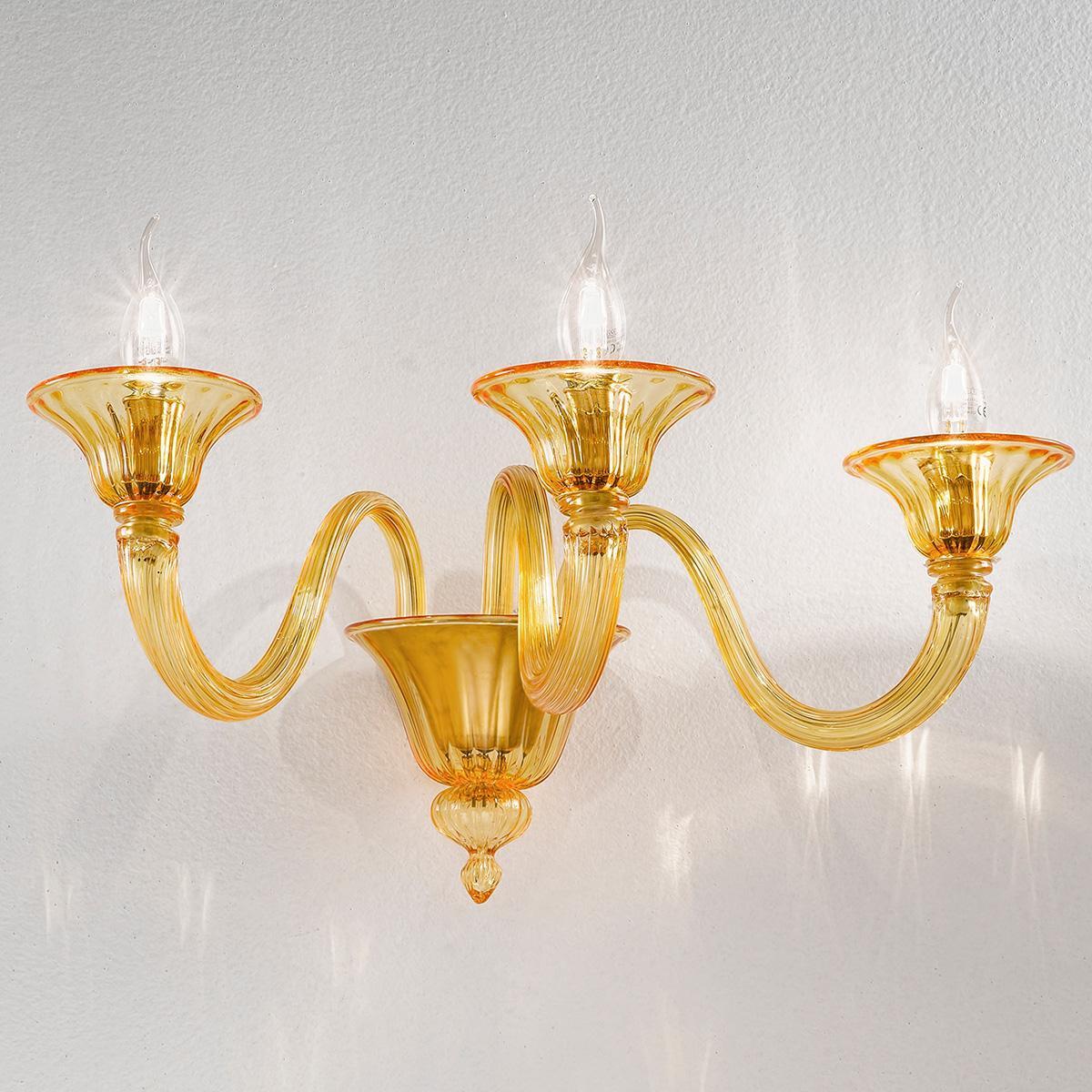 """""""Paola"""" applique en verre de Murano - 3 lumières - ambre"""
