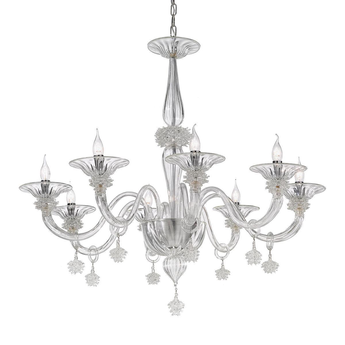 """Fatima"" lampara de araña de Murano - 8 luces - transparente"