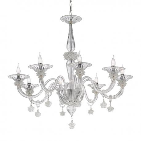 """Fatima"" Murano glass chandelier - 8 lights - transparent"