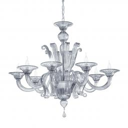 """Marinella"" Murano glass chandelier - 8 lights - smoke"