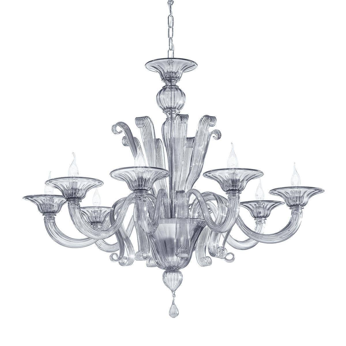 """Marinella"" lustre en cristal de Murano - 8 lumières - fumée"