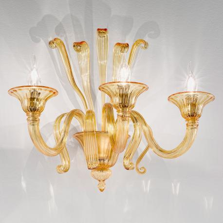 """Marinella"" Murano glass sconce - 3 lights - amber"