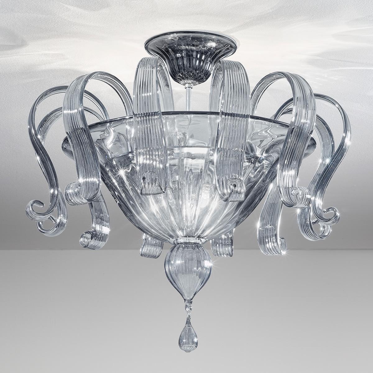 """""""Marinella"""" plafonnier en verre de Murano - 6 lumières - fumée"""