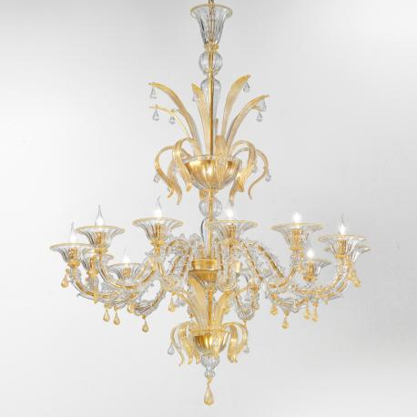 """Paradiso"" Murano glass chandelier - 12 lights - transparent and gold"