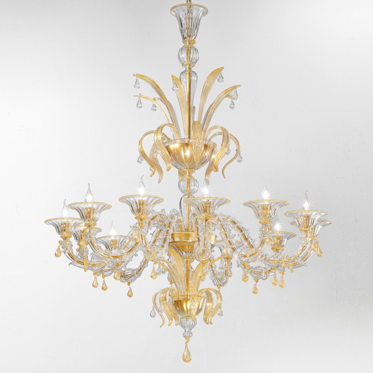 """""""Paradiso"""" lustre en cristal de Murano - 12 lumières - transparent et or"""