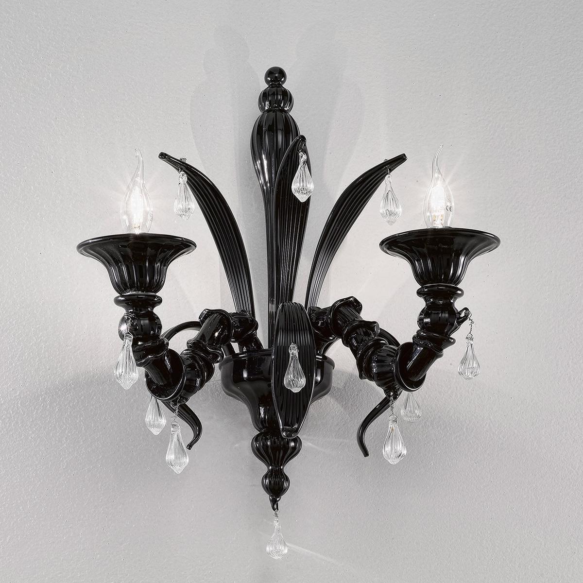 """Paradiso"" aplique de pared de Murano - 2 luces - negro"