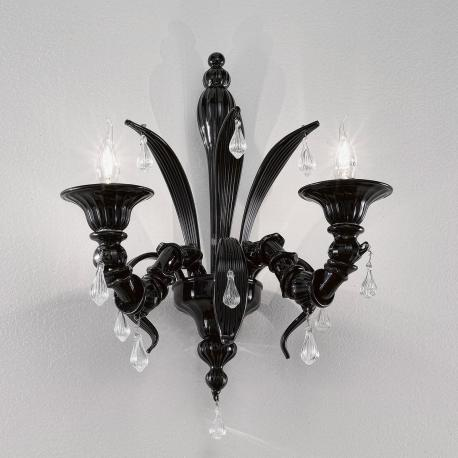 """Paradiso"" Murano glass sconce - 2 lights - black"