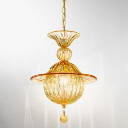 """Vilma"" Murano glass pendant light - 1 light - amber"