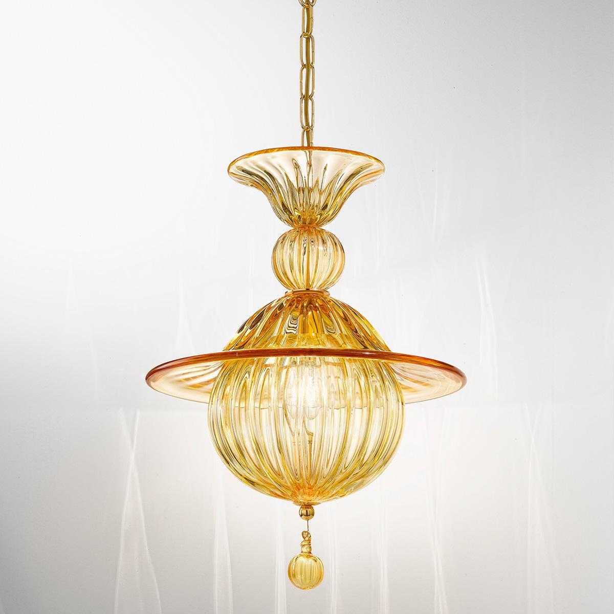 """""""Vilma"""" lámpara colgante en cristal de Murano - 1 luce - ámbar"""