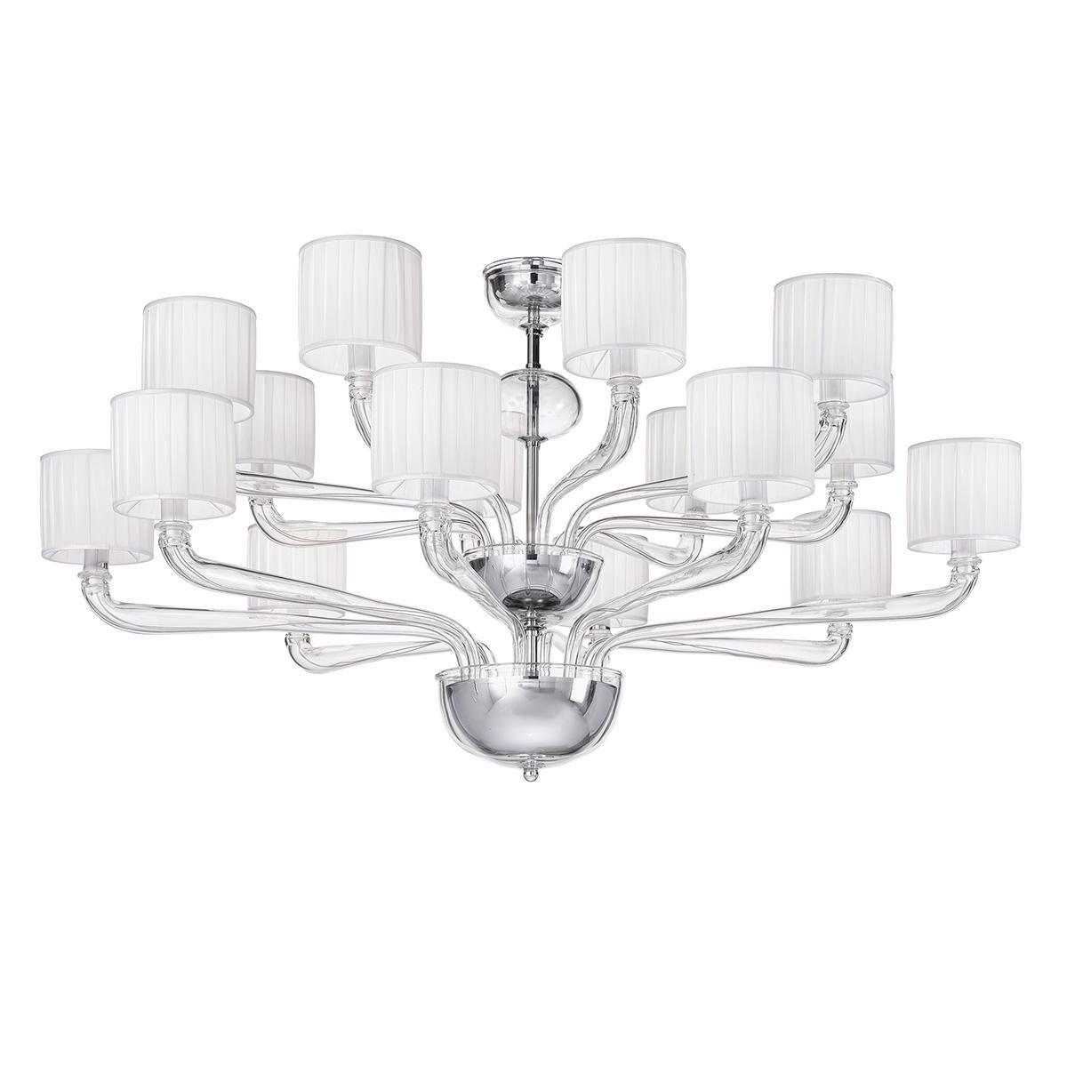 """Zenobia"" lustre en cristal de Murano - 8+8 lumières - transparent"