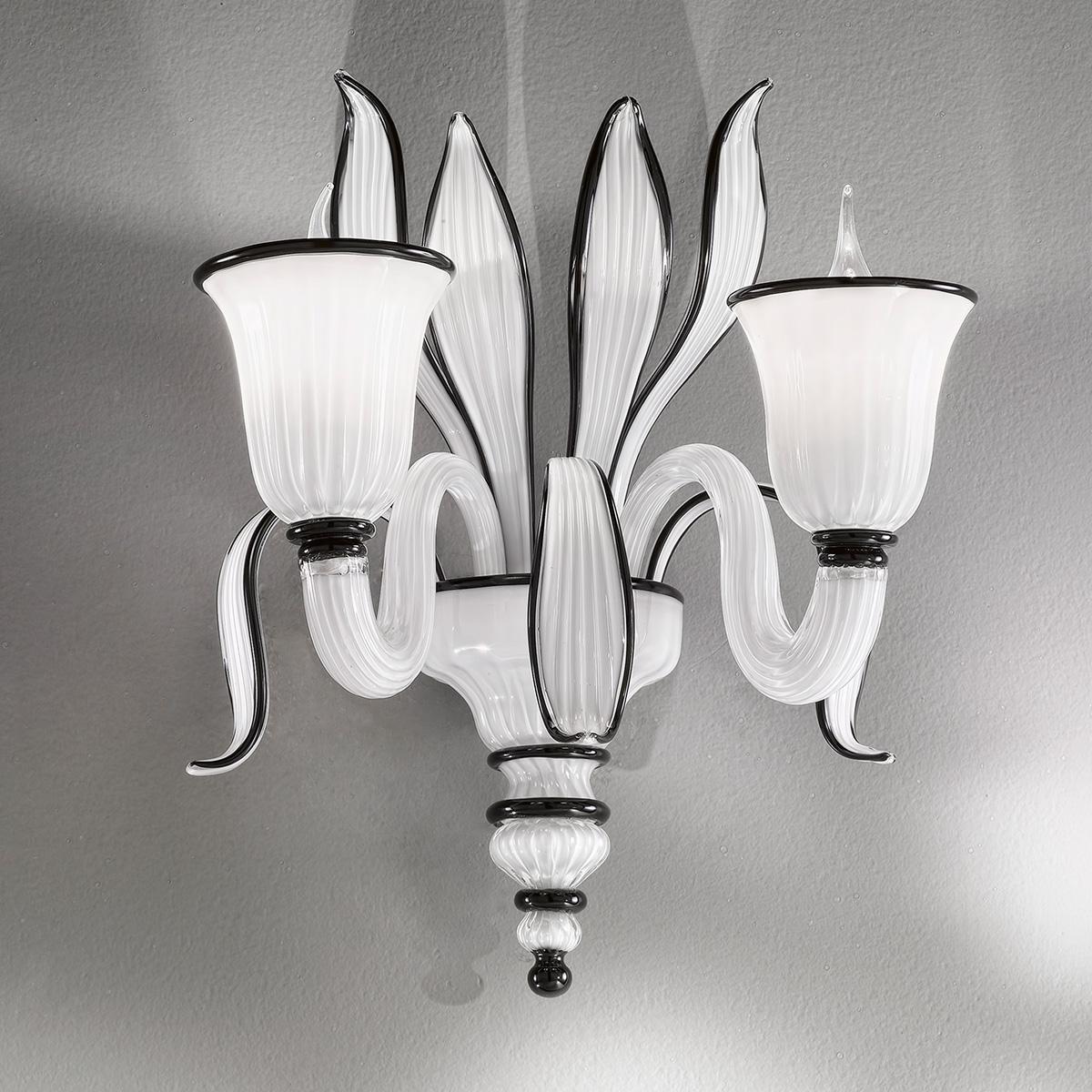 """Linda"" Murano glass sconce - 2 lights - white and black"