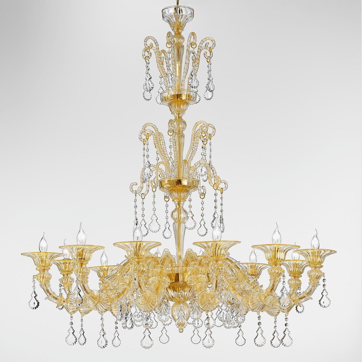 """Priscilla"" lustre en cristal de Murano - 12 lumières - or"