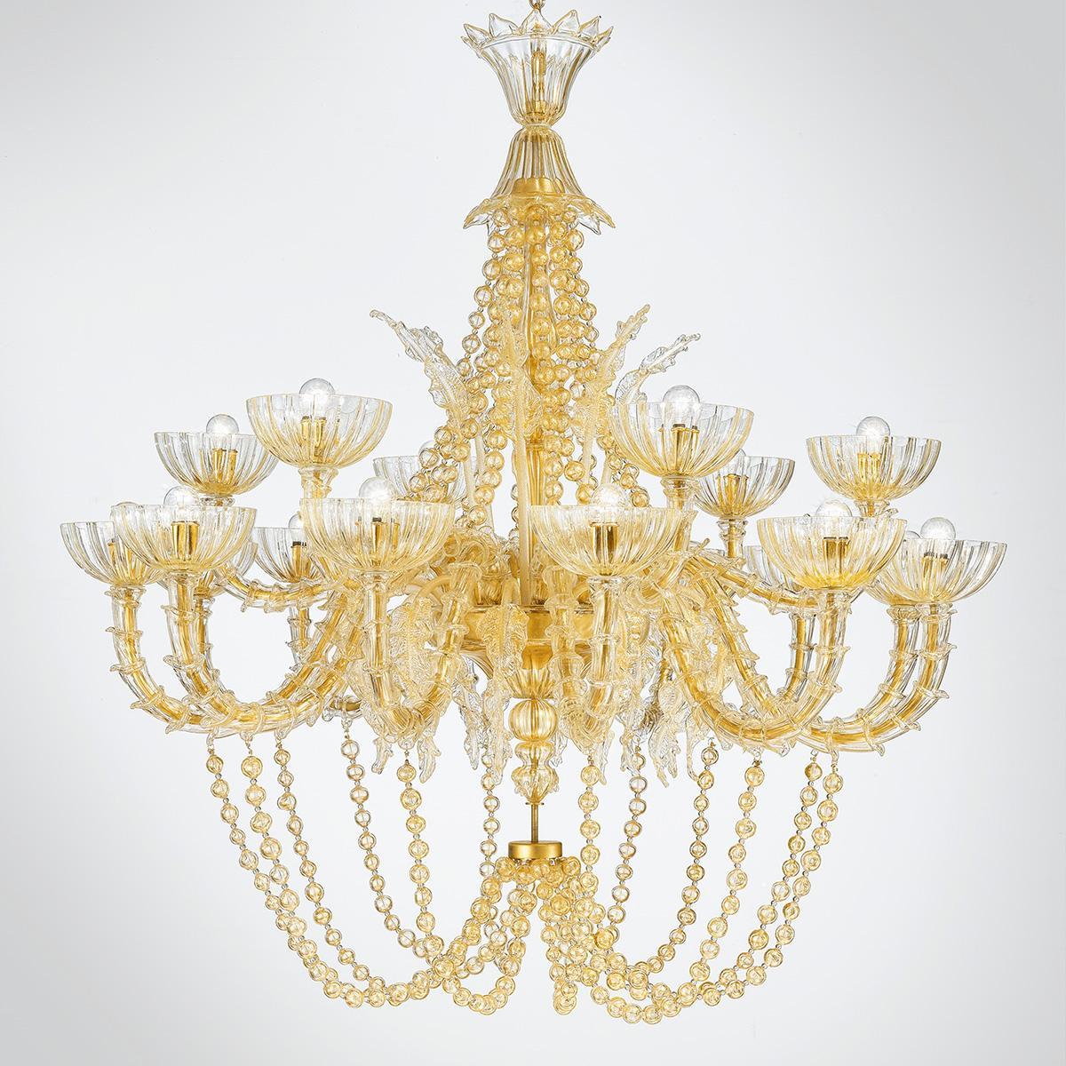 """""""Miriam """" lampara de araña de Murano - 18 luces - oro"""