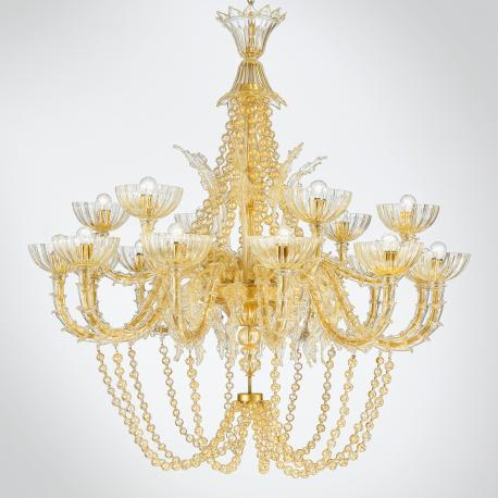 """Miriam "" Murano glass chandelier - 18 lights - gold"